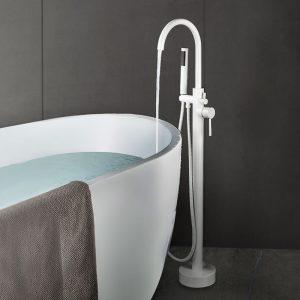 Robinet de baignoire autoportant monté au sol avec douche à main blanc