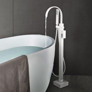 Remplisseur de baignoire à fixation au sol avec douche à main, poignée simple, blanc