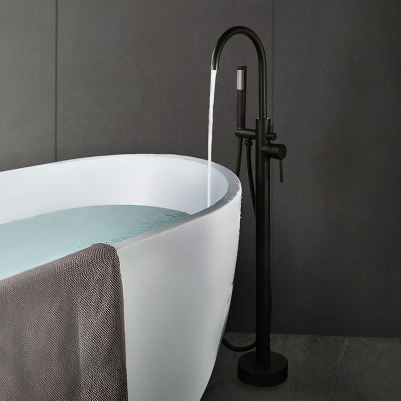 Robinet de baignoire autoportant Arcora noir avec douche à main