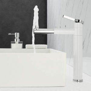 Mitigeur lavabo rotatif 360 ° Mitigeur monocommande pour salle de bain blanc