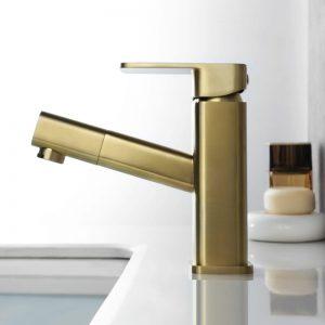 Robinet de lavabo doré avec douchette amovible