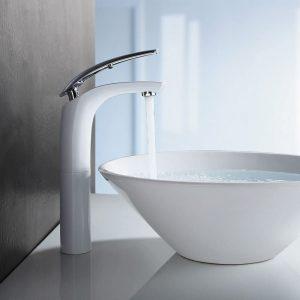 Robinet de lavabo en chrome blanc Robinet de salle de bain Robinet de salle de bain Mitigeur monocommande de salle de bain Robinet de lavabo de lavabo