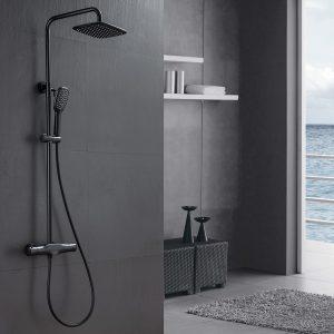 Fixation murale thermostatique de douche en acier inoxydable noir mat 2 fonctions avec pulvérisateur à main