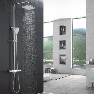 Systèmes de douche thermostatiques avec douche à effet pluie et douche à main réglable